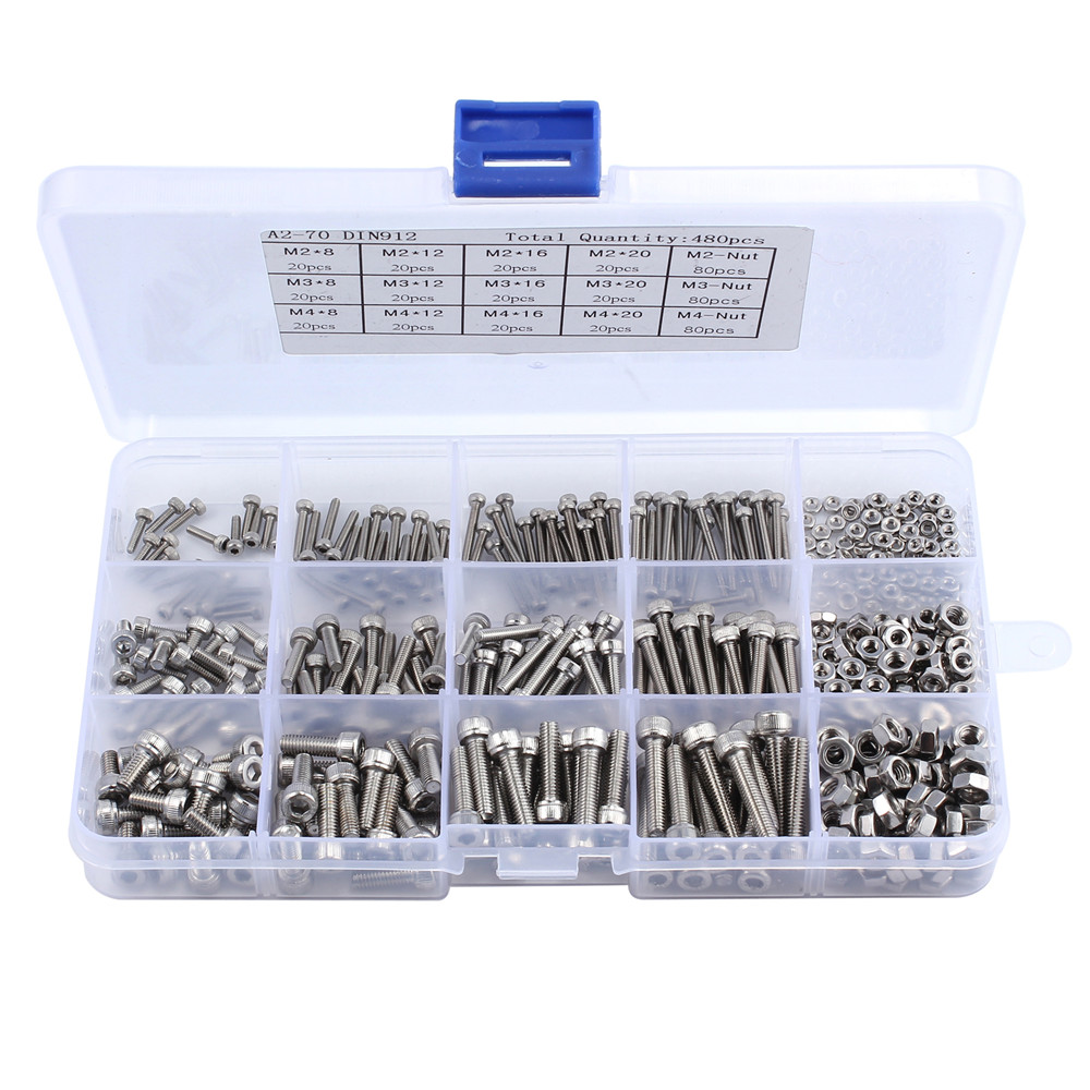 480pcs/set M2 M3 M4 304 Stainless Steel Hex Socket Cap Head Bolts Screws Nuts Kit Head Cap Screws Nut Set With Box SS304 20pcs metric m12 304 stainless steel hex head dome cap protection cover nuts fasteners