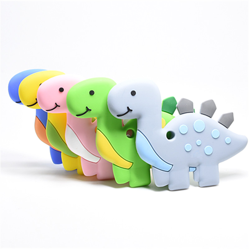 1 Pc Cute Dinosaur Baby Teether Pendant Necklace Accessory BPA Silicone Chew Toy