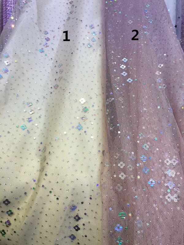 Hot selling glued glitter sequins lace fabric Sat 4 1811 African French net tulle Lace Fabric