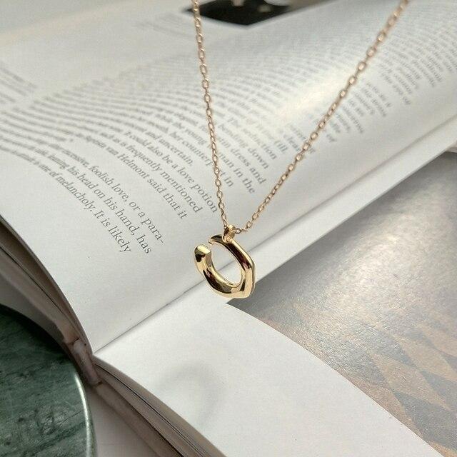 d50de847d322 LouLeur 925 plata esterlina C letra colgante collar oro moda diseño  personalidad Collar para mujer 2018