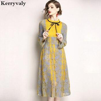 3e7f9307643 Летние желтые кружевное платье с длинными рукавами роковой ете 2019 Vestido  Повседневное Для женщин макси платье женская одежда Талла Гранде K9055