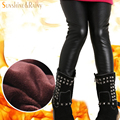 Menina miúdo calças skinny preto calças de couro grossas de inverno menina legging calças da menina das crianças calças criança calças encaixa 3-10 anos velho