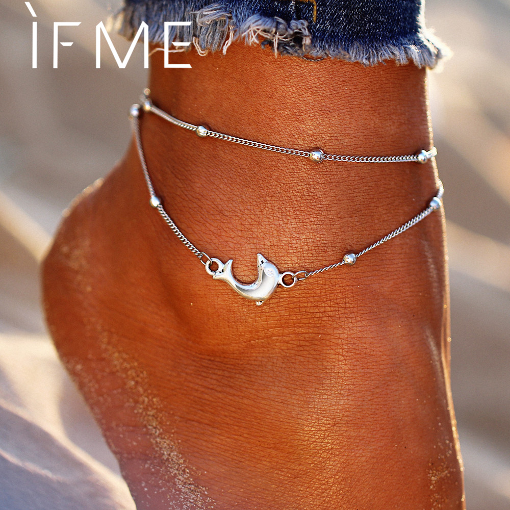 IF ME Vintage Multiple Layers Animal Dolphin Anklets For Women Charms Silver Color Beads Foot Chain Jewelry Beach Sea Party Gift