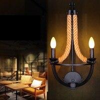 Американский Лофт настенный светильник с двойной головкой пеньковая веревка Настенный бра прикроватная тумбочка для спальни гостиничный