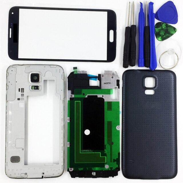 Для Samsung Galaxy S5 G900 G900F G900V G900T Черный/Белый/Золото Полное Полный Жилищно Передняя Ближний Рамка Корпус Батареи