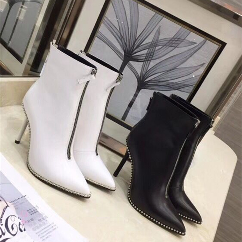 High quality pointed toe zips genuine leather women boots high heel sexy lady pumps OL party