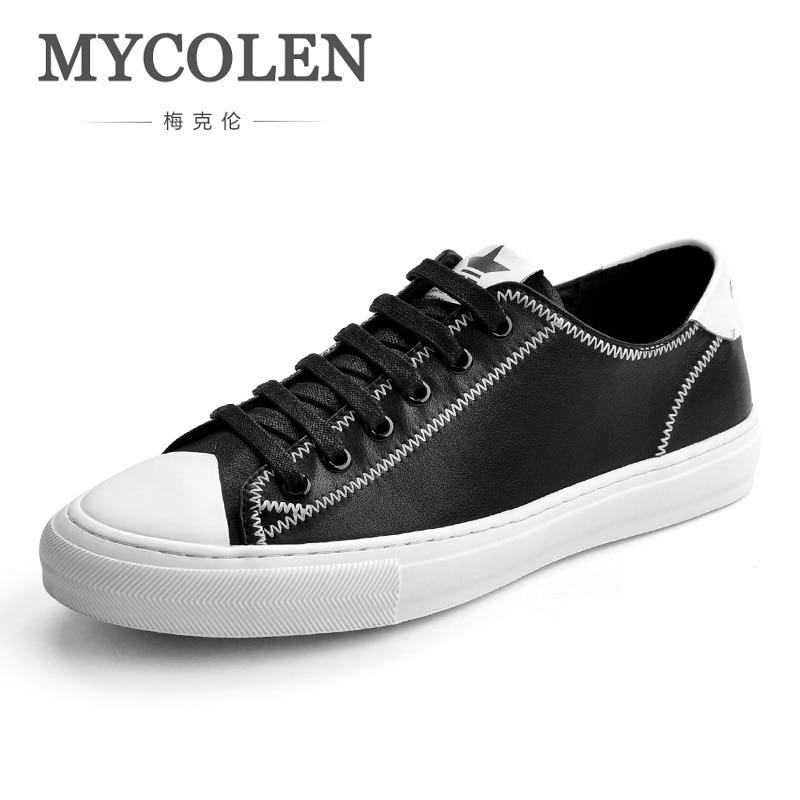 MYCOLEN New Luxury Brand Men Shoes Leather Casual Black White Shoes Mens Spring Autumn Lace Up Men Fashion Sneakers Schoenen