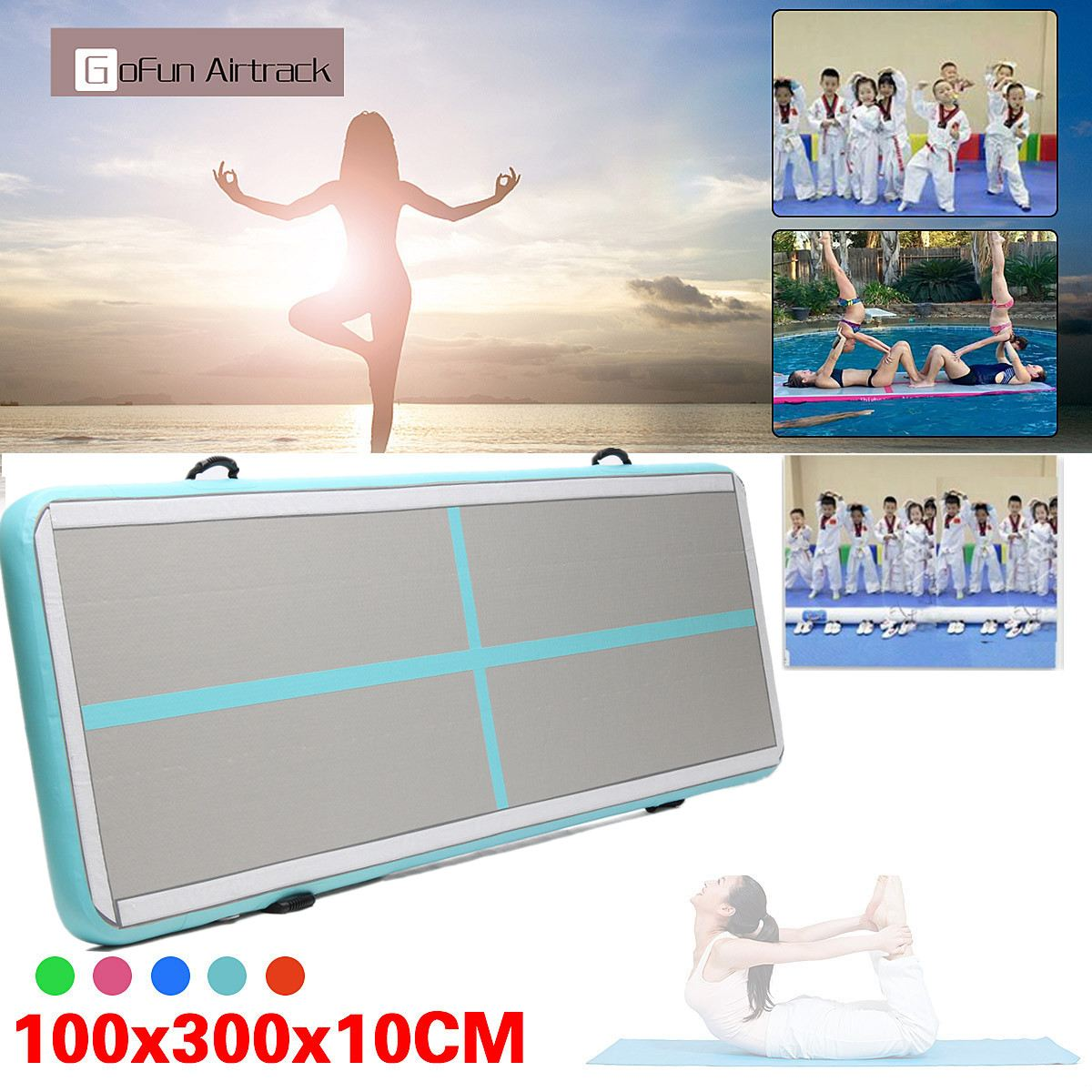 Newest 100x300x10cm Inflatable Tumble Track Trampoline Air Track Taekwondo Gymnastics Inflatable Air Mat все цены