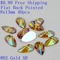8x13mm 40 unids Flatback Rhinestones de Acrílico En Forma de Lágrima Forma de Gota de Pegamento En Joyería de Los Granos DIY Artesanía hacer Decoraciones