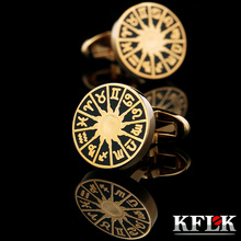 KFLK Jewelry French shirt cufflinks for mens Brand Constellation Cuff link Luxury Wedding Button Gold High Quality Free Shipping