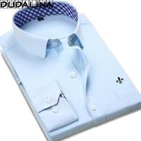 DUDALINA 2018 New Classical Dress Shirt Male Shirt Men Spring Autumn Long Sleeve Solid Twill Formal