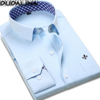 DUDALINA 2018 New Classical Dress Shirt Male Shirt Men Spring Autumn Long Sleeve Solid Twill Formal
