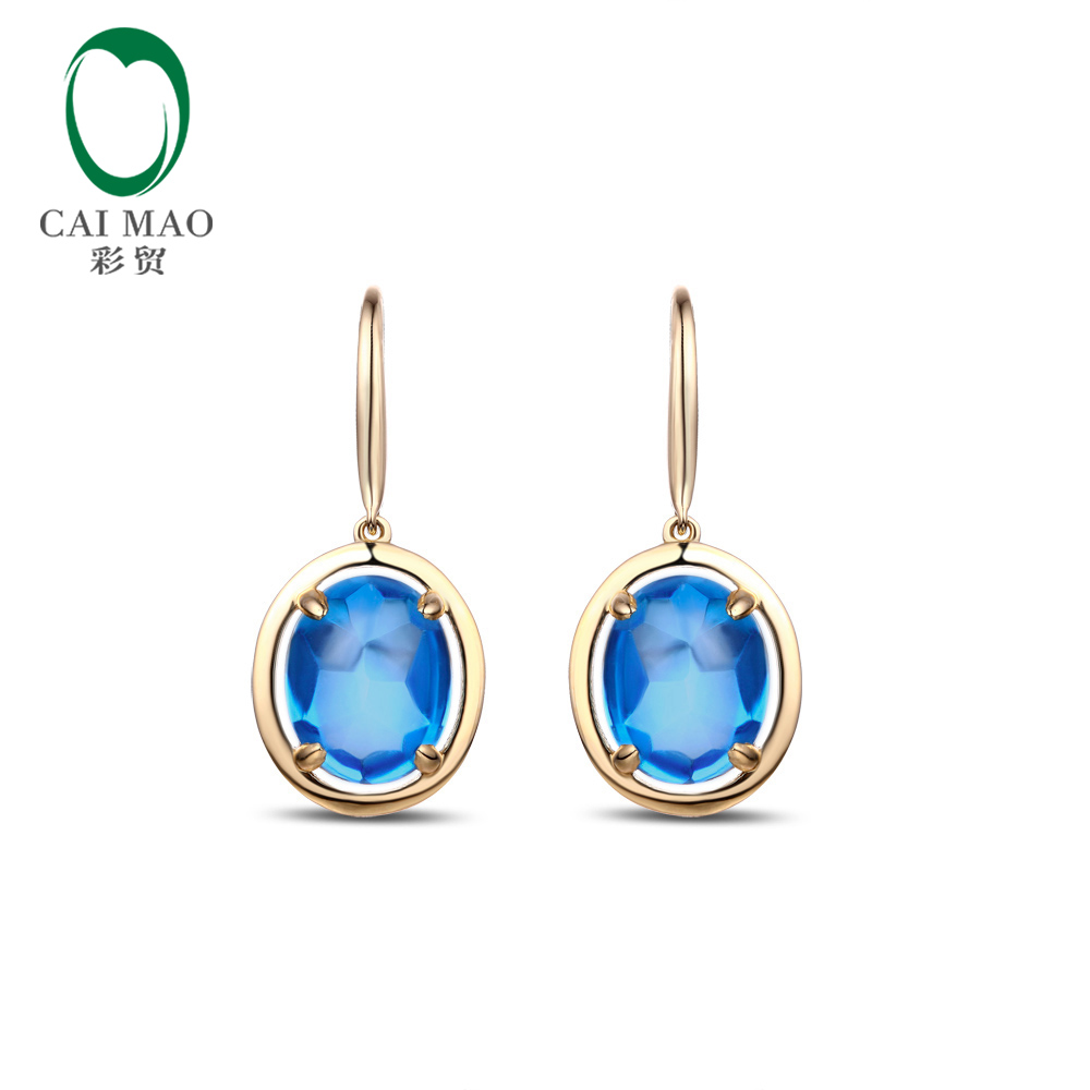 7.9ct Natural Swiss Blue Cabochon Cut Topaz 14k Yellow Gold Engagement Dangle Earrings diva 5 0ct natural swiss blue topaz sterling silver feather dangle earrings