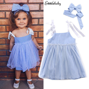 Cute Lovely Toddler Pretty Baby Girls Dress Fille Jolie Sleeveless Striped Lace Tulle Sundress Bandage Outfit Summer Dresses 1