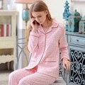Sleepwear outono Feminino Longo-luva 100% Algodão Breve Ocasional Doce Primavera E No Outono 100% Algodão Set Lounge