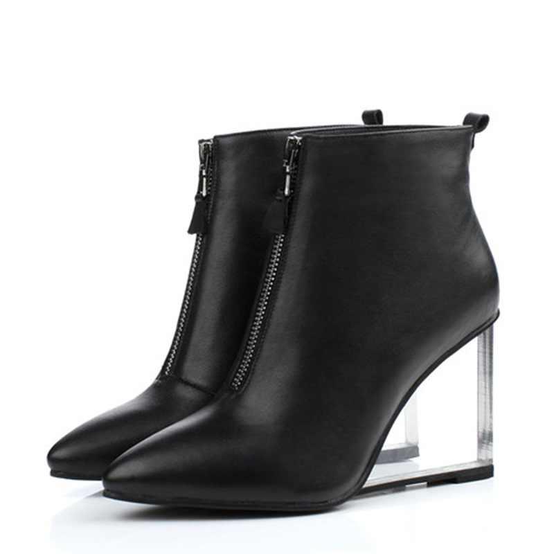 EGONERY moda şehir kadın yarım çizmeler yan fermuar sivri burun binicilik avrupa ve amerikan tarzı kristal ayakkabı