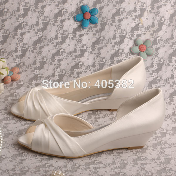 e1e950f76c6 Wedopus MW494 Women D'orsay Ivory Bridal Shoes Low Wedge Heel Peep ...