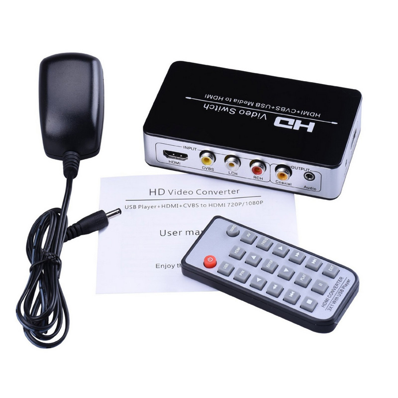 new hdmi av cvbs usb media to hdmi video converter adapter. Black Bedroom Furniture Sets. Home Design Ideas