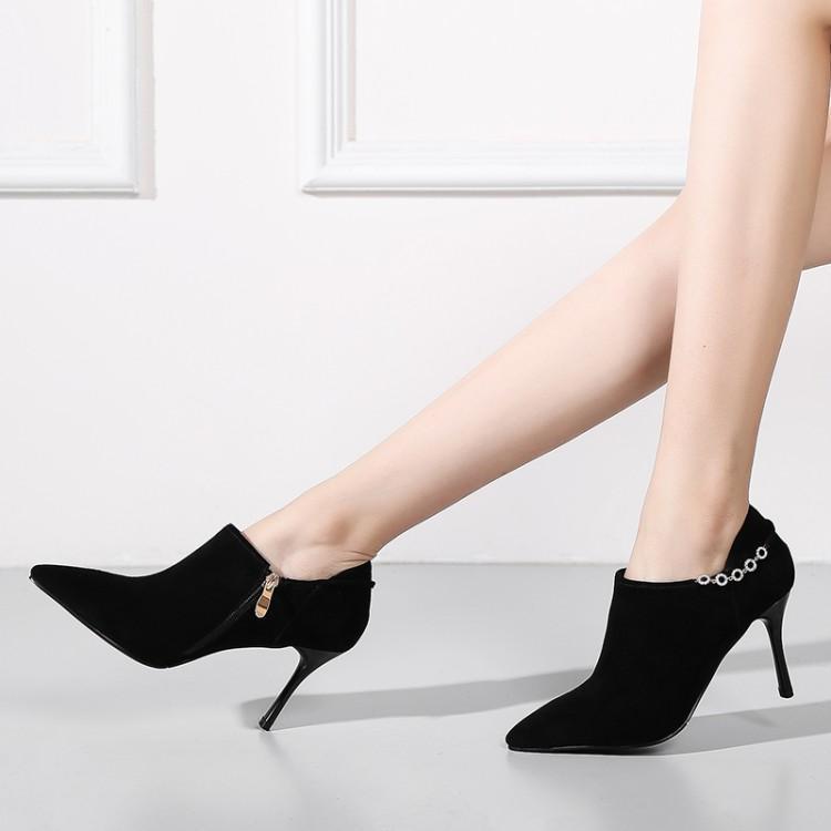 191446b00 Marca Tacones Tacón Zapatos Lateral Las Invierno Concisa Damas Cadena Botas  Mujeres Puntiagudo Dedo De Gamuza Alto Pie Del Negro Mujer fwwqP6pH
