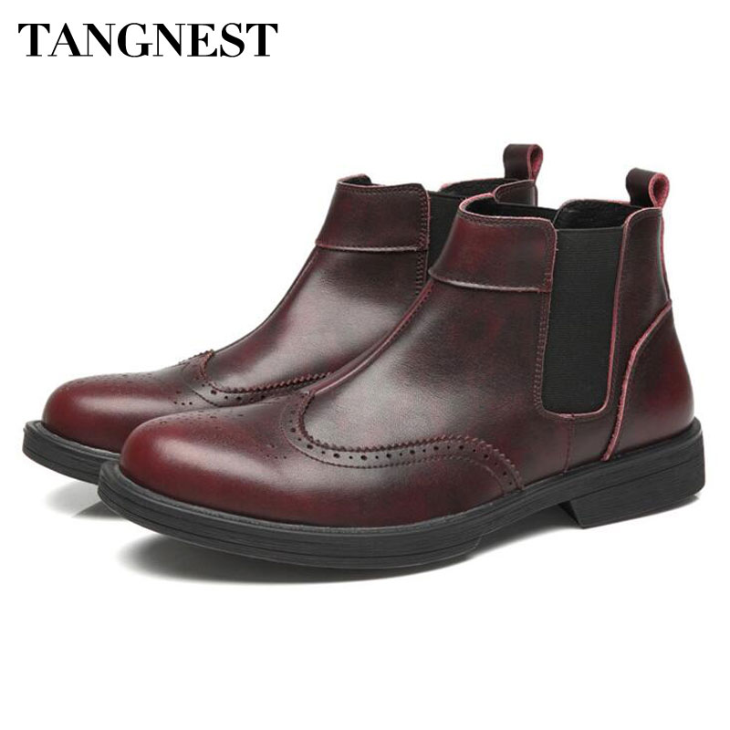 Tangnest Men's Genuine Leather Ankle Boots Vintage British Style Cow Leather Chelsea Boots For Men Autumn Slip On Casual Shoes цена 2017