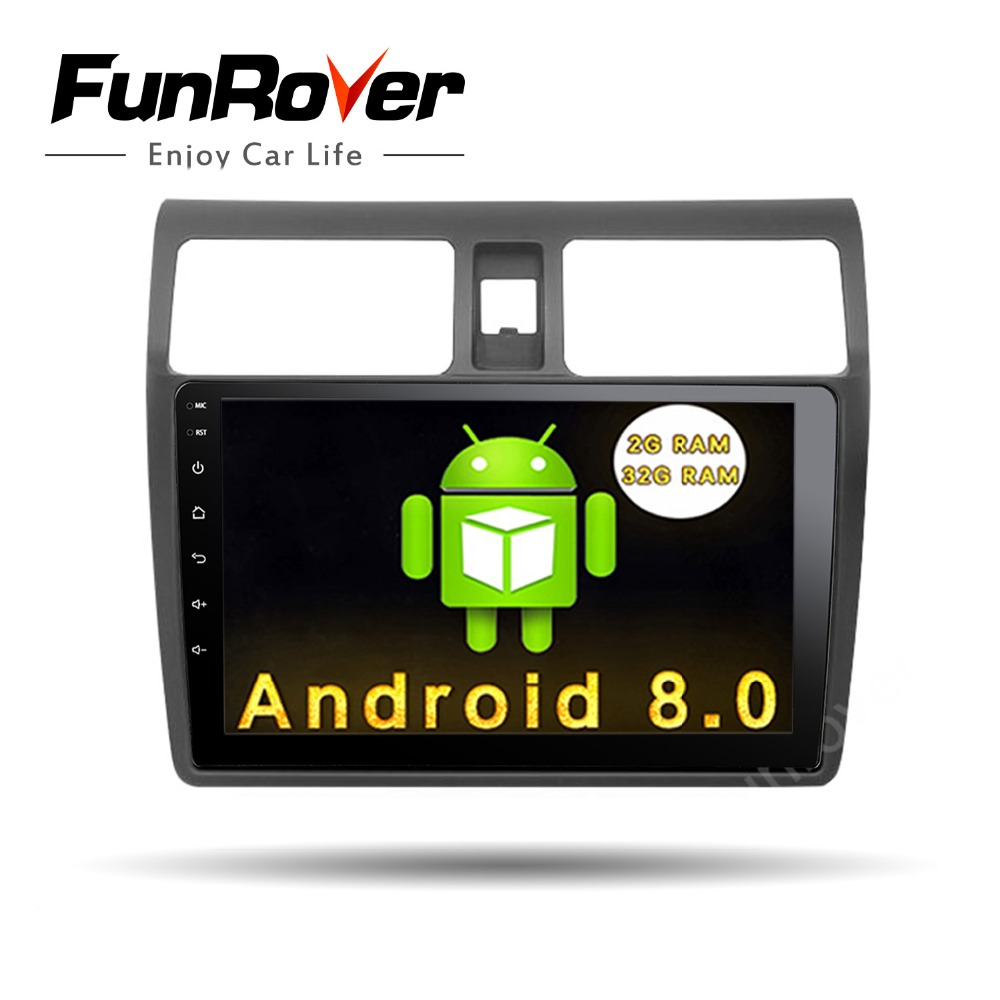 Funrover 10.1 Car radio for Suzuki Swift 2005-2018 Quad core Android 8.0 Car dvd GPS player Stereo wifi 2G RAM 32G ROM BT RDS funrover 9 hd quad core ram 2g android 8 0 car navigation gps player for suzuki sx4 2006 2013 wifi rds radio bt fm usb no dvd