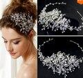 O novo high-end tiaras100 % artesanal de cristal acessórios do casamento estilo verão bonito nupcial headband jóias cabelo para as mulheres