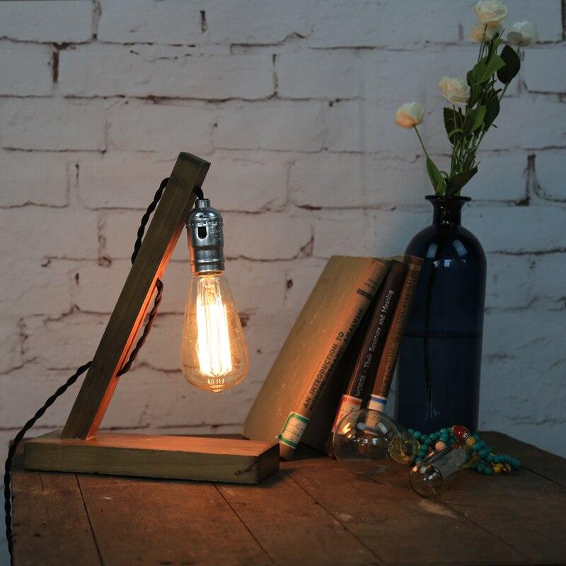 Vintage American Country Edion Bulb Desk Lamp Modern Wood Reading Lights E27 Bedside For Home Bedroom  Abajur Leitura 110V 220V