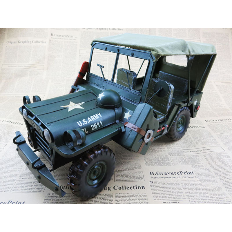 Cool !The United States Willis Biggest  jeep wrought iron army vehicles model handicraft furnishing articles in the living room willys jeep 1 10