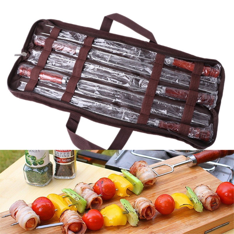 NEW 5pcs Roasting Forks With Bag Camping Hot Dog Skewers BBQ Forks Barbecue Tool