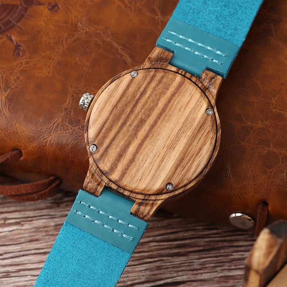Fashion Blue Wooden Bamboo Quartz-watch Natural Wood Wristwatch Genuine Leather Creative Xmas Gift for Men Women Reloj de madera 2017 2018 (26)
