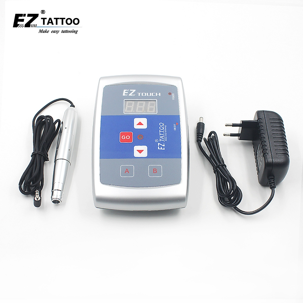 EZ Permanent Tattoo Machine Kits Digital Permanent Makeup Eyebrow&Lip Pen LCD Power Supply Free Shipping 15pcs red professional handmade permanent makeup tattoo manual pen machine for eyebrow 50pcs blade 12 free shipping