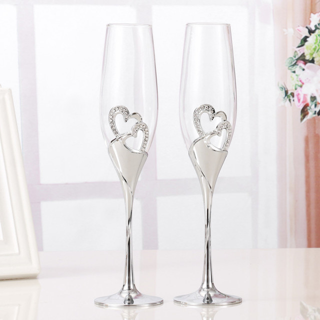 2 PCS /Set Crystal Wedding Toasting champagne flutes glasses Drink Cup Party marriage Wine decoration cups for parties Gift box  1