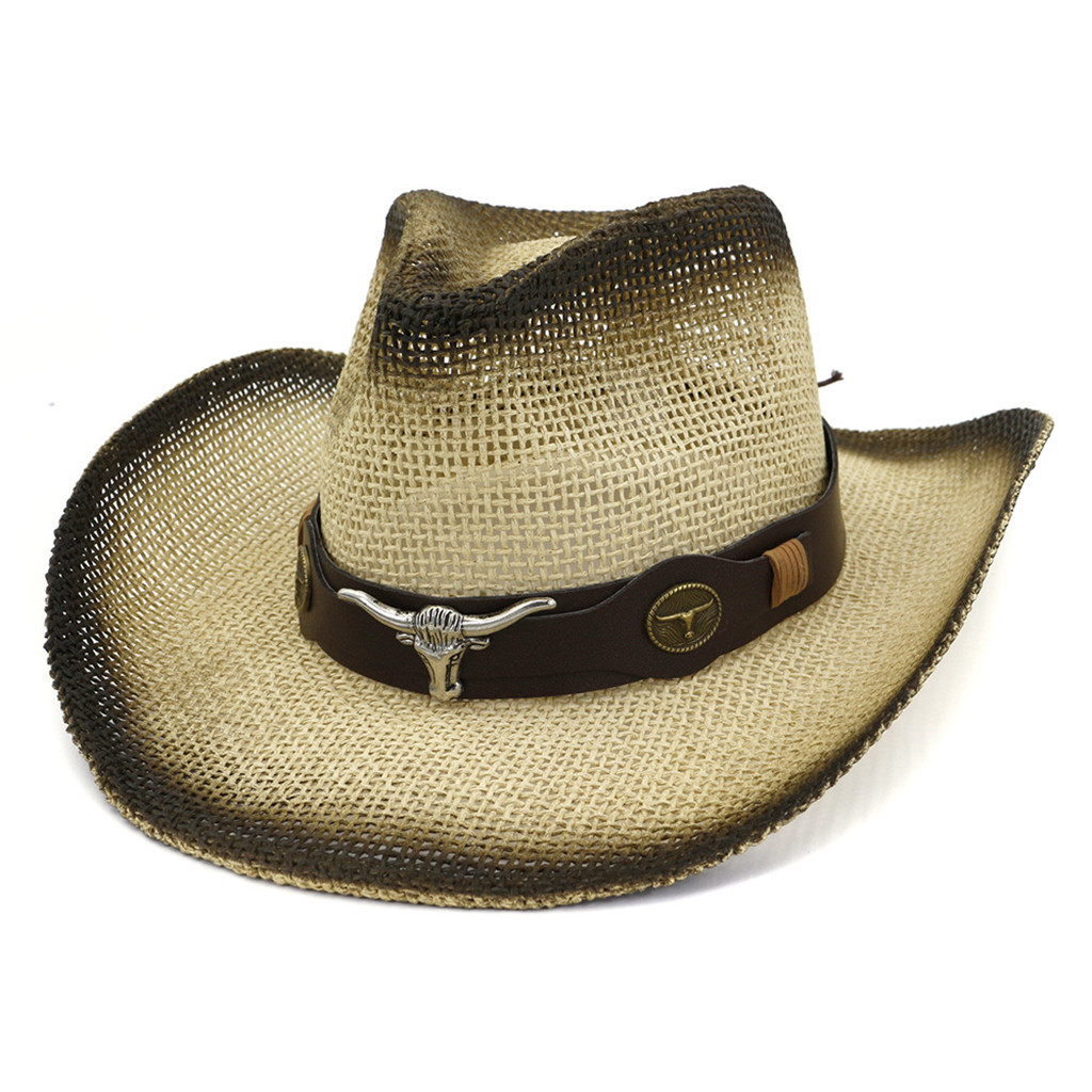 Women Straw Western <font><b>Cowboy</b></font> <font><b>Hat</b></font> For Summer Men Lady Cowgirl Sombrero Hombre Caps With Handmade Embroidery <font><b>Hats</b></font> #Zer image