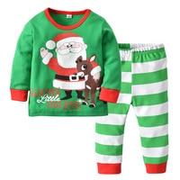 2018 Christmas Children's Pajamas Set Boys Girls Cotton New Years Sleepwear Long sleeved Good Quality Kids Pajamas Suit CA267