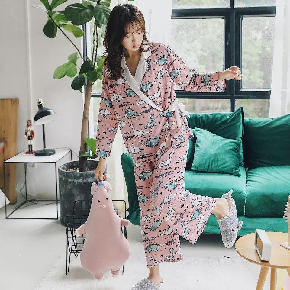Cartoon Sleepwear Women's Cotton Pajamas Style Vintage Print 3 Piece Sets Women Pajama Set Women Comfortable Soft Pijama Mujer