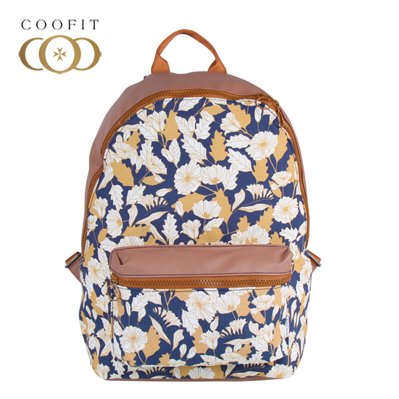 Coofit Girls Preppy Backpack Stylish Flowers Leaves Printing Oxford Backpack Female Zipper Casual Travel Backpack School Bagpack