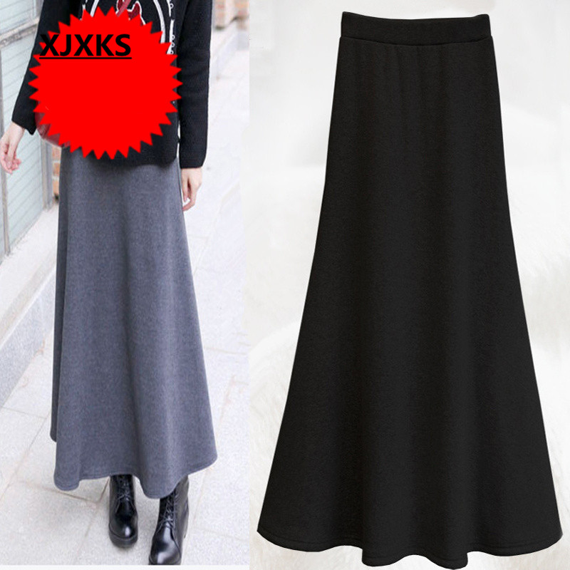 King L 5XL long skirt new 2015 women s winter warm skirt big yards big swing