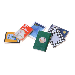 6PCS Colorful Wooden Books Miniature Dollhouse Classic Pretend Play Furniture Toys Creative Cute Gifts Presents 1/12