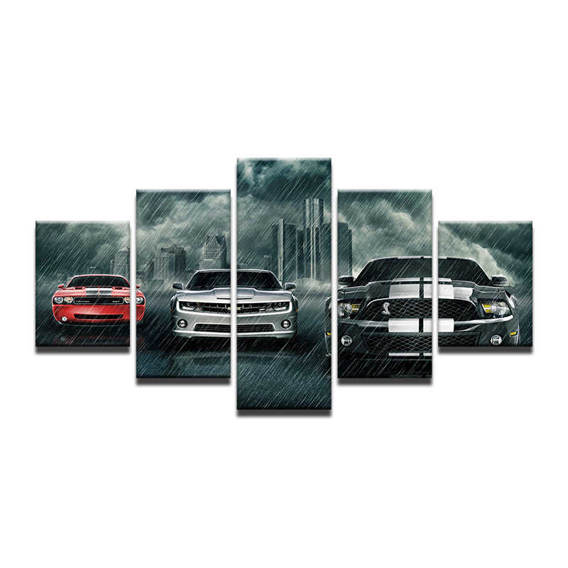 Painting On Canvas Wall Art Frame Home Decor Room HD Printed 5 Panel Modular Pictures Ford Mustang Car In The Rain Poster