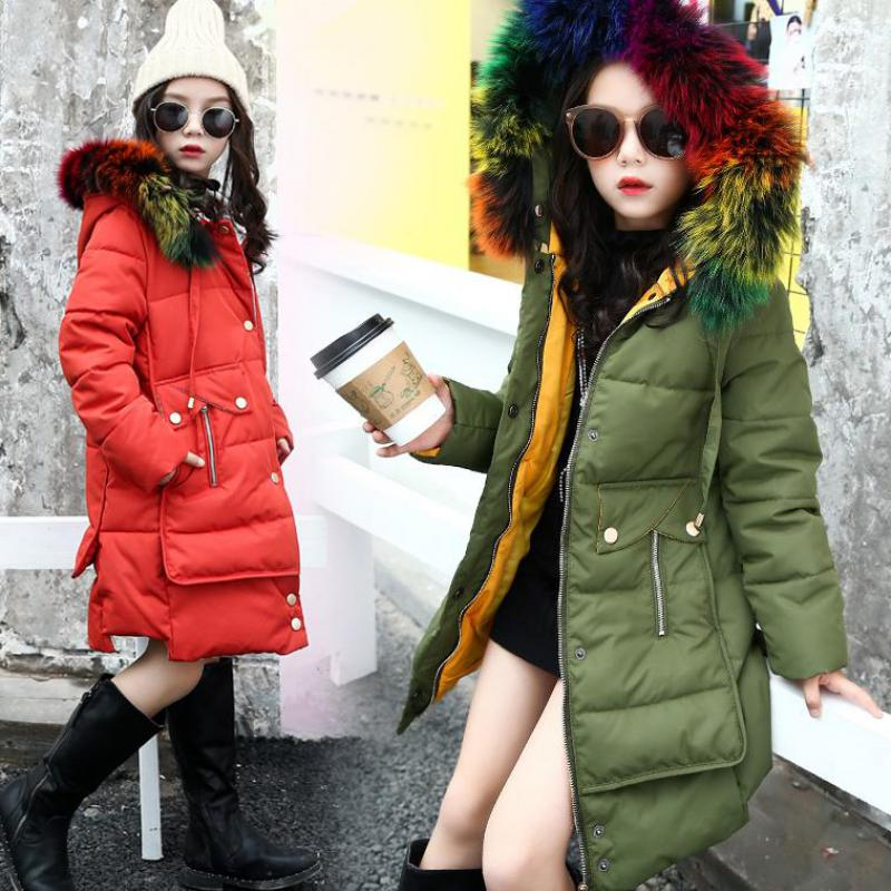 Girls Down Jackets 2017 Brand Russia Winter Thicken Big Fur Collar Hooded Children Down Coats Outerwear For Cold -30 Degree Wear girls down coats girl winter collar hooded outerwear coat children down jackets childrens thickening jacket cold winter 3 13y