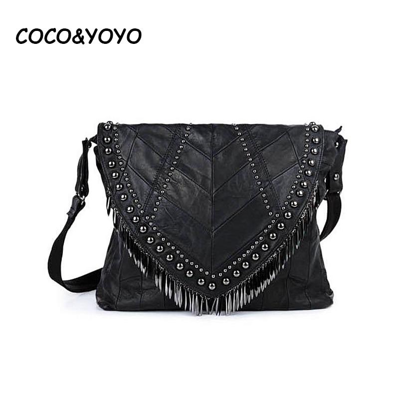 ФОТО 2016 New Brand Design Fashion Genuine Leather Women Handbags Casual Black Shoulder Bags Vintage Messenger Bags bolso feminina