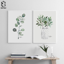 Scandinavian Watercolor Poster Nordic Canvas Wall Art Print Fresh Leaves Girl Painting Decorative Picture Home Decoration