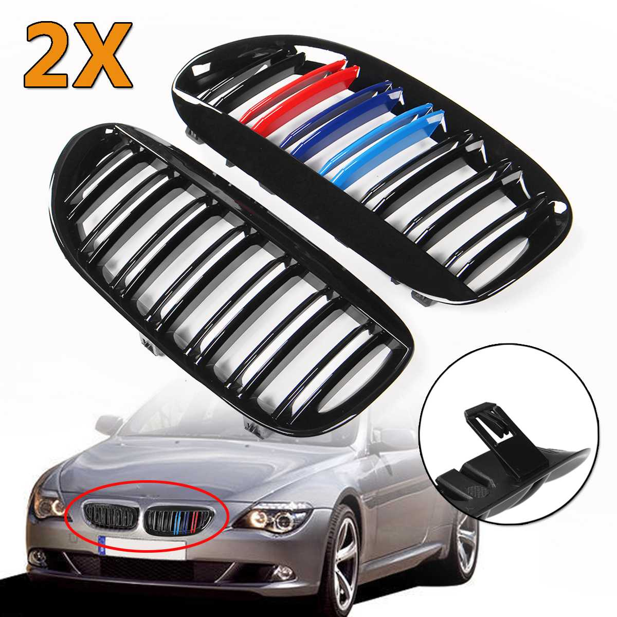 A Pair Gloss Black M-Color Double Line Car Front Bumper Kidney Grills Grille For BMW 6 Series E63 E64 Coupe 2004-2009