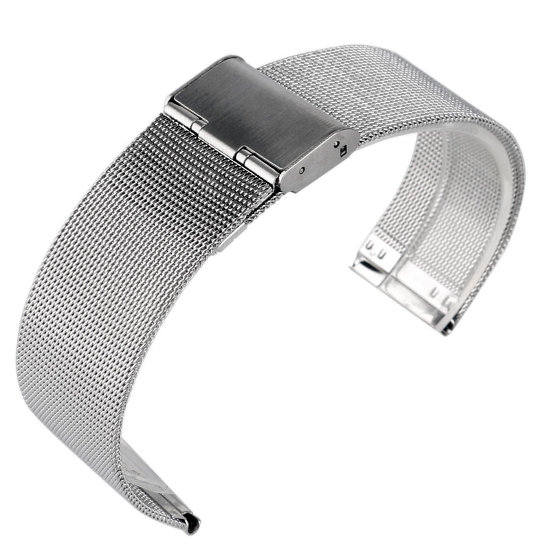 20mm Silver Stainless Steel Mesh Bracelet Hook Buckle Wrist Band Watch Strap Replacement Solid Link Men Watchband+2 Spring Bars 22mm silver golden color butterfly buckle wrist quartz watch stainless steel band strap bracelet 2 spring bars gd013222