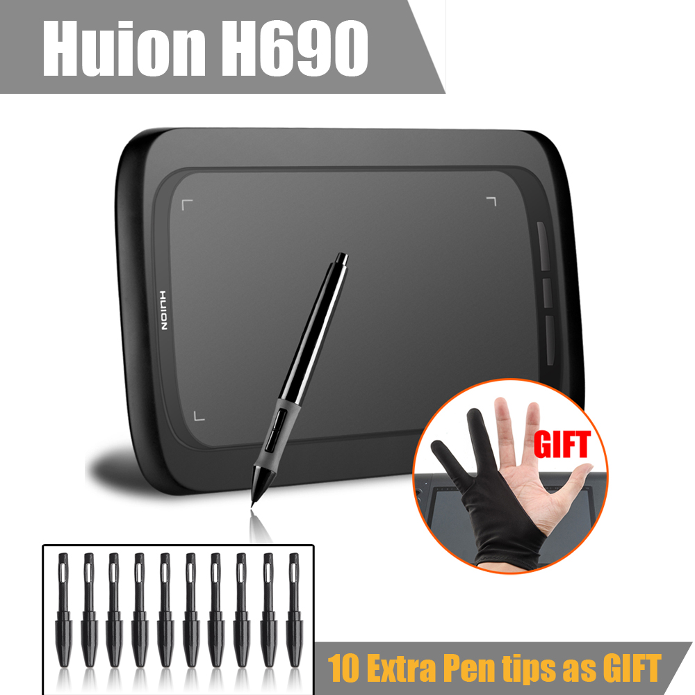 Huion H690 Art Graphic Drawing Digital Tablet  6x9 5080LPI 2048 Good As Huion H610 Pro + Anti-fouling Glove+10 Pen Tips- Gift ugee m708 digital tablet graphics drawing tablet pad with pen 2048 level digital pen good as huion h610 pro
