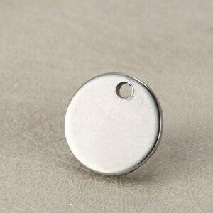 Image 5 - فارغة 12 مللي متر بطاقة تعريف/ ملصق دائري الشكل دلايات من الفولاذ المقاوم للصدأ مخصص شعار محفور مع كمية صغيرة