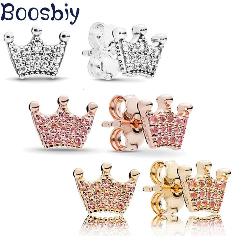 Boosbiy High Quality Fashion 2019 Crown Cubic Pink Crystal Brand Earrings Rhinestone Stud For Women pendientes