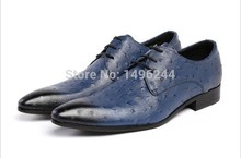 british style real cowhide ostrich leather qshoes shoes mens brand business dress luxury men fashion pointed-toe lace-up shoe