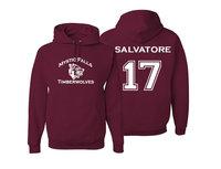 Vampire Diaries Mystic Falls Timberwolves Hoodie Salvatore 17 Maroon Men S Hoodies Long Sleeve Sudaderas Hombre
