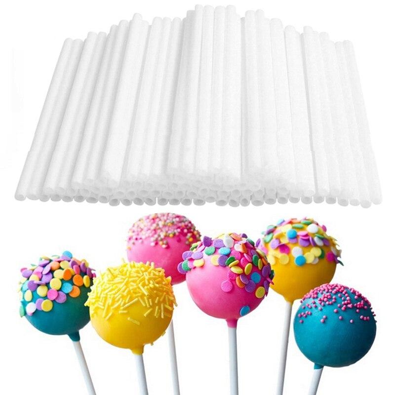 80 יח'\חבילה 10cm לרשות Lollipop מקלות סוכריות פופס שאינו רעיל מזון כיתה פלסטיק פרייר צינורות מקלות עבור שוקולד עוגת כלי